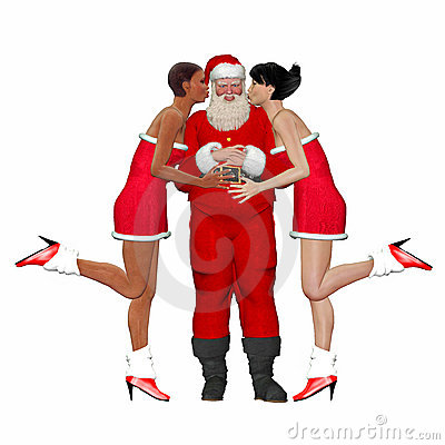 Santa being kissed by lady friends