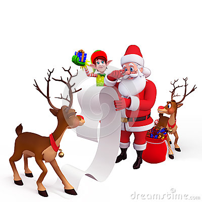 Santa with a big gift list