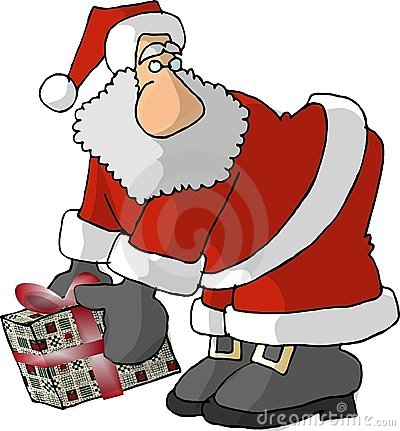 Santa With A Big Nose And A Wrapped Gift Stock Images - Image: 30864