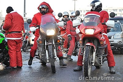 Santa Bikers Editorial Stock Photo