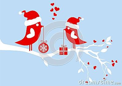 Santa birds, vector