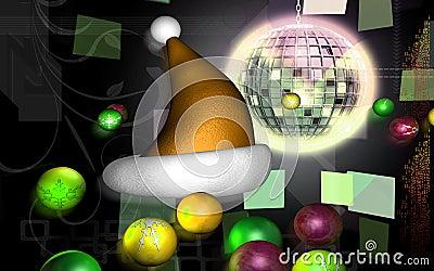 Santa cap with hanging ball