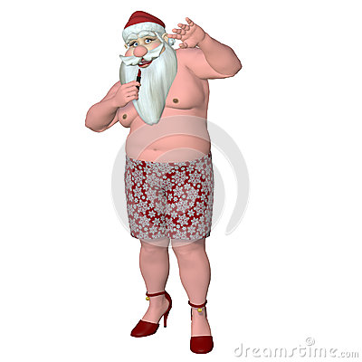 Santa Caught Putting on Lipstick
