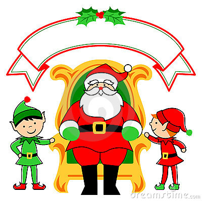 Santa Chair and Elves/eps