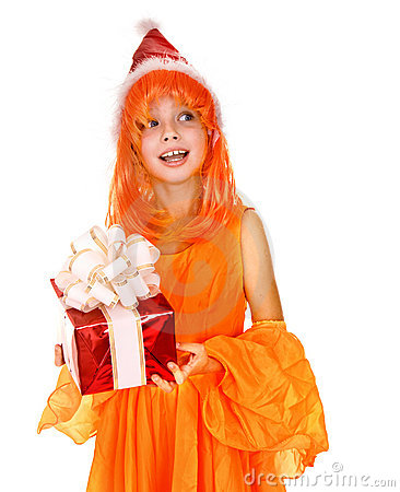 Santa child girl in orange costume, red gift box