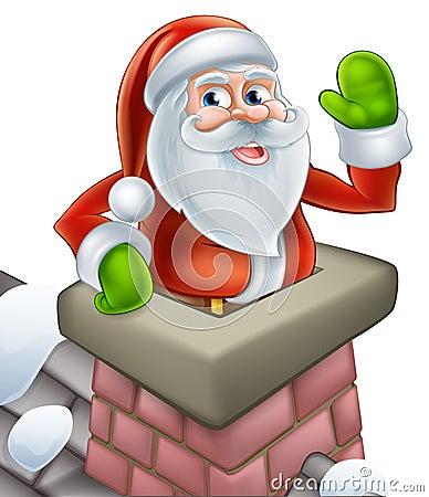 santa in chimney christmas cartoon stock vector image