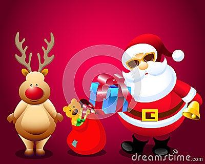 Santa & Christmas Gifts with Rain Deer
