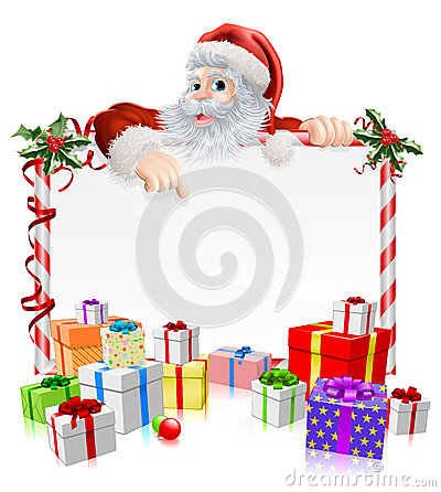 Free Santa Christmas Gifts Sign Stock Photography - 35537472