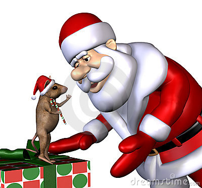 Santa and Christmas Mouse - with clipping path