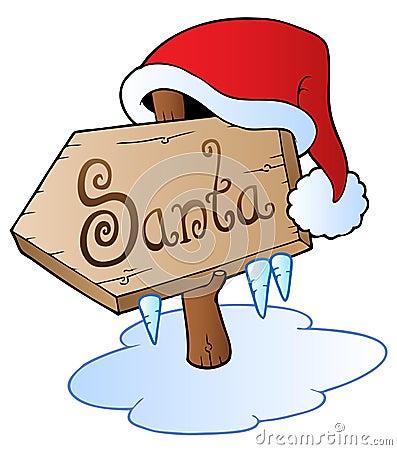 Santa Christmas sign with cap