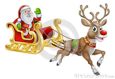 An illustration of Santa Claus riding in his Christmas Sleigh or Sled ...
