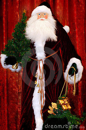 Santa with a Christmas Tree and Christmas Gifts