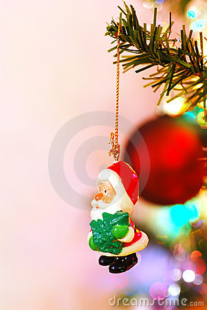 Santa christmas Tree Decoration on a branch