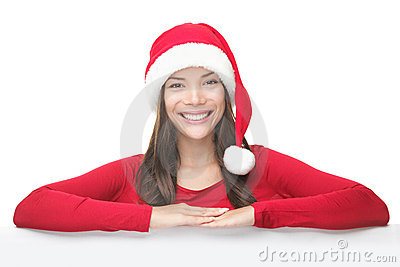 Santa Christmas woman leaning on sign billboard