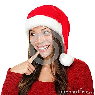 Santa christmas woman looking
