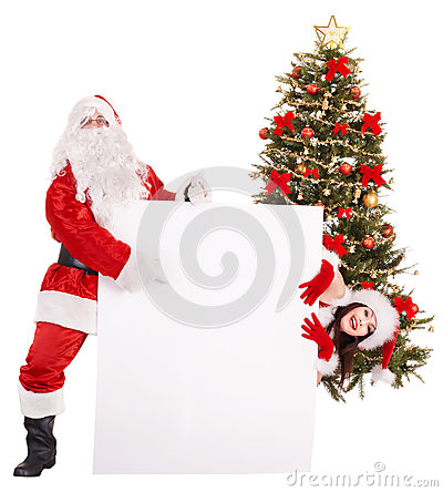 Free Santa Claus And  Girl Holding Banner By Christmas Tree.. Royalty Free Stock Photography - 35353427