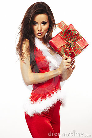 Free Santa Claus And Holding Red Gift On White Stock Photos - 11834523