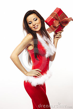 Free Santa Claus And Holding Red Gift On White Stock Images - 11834554