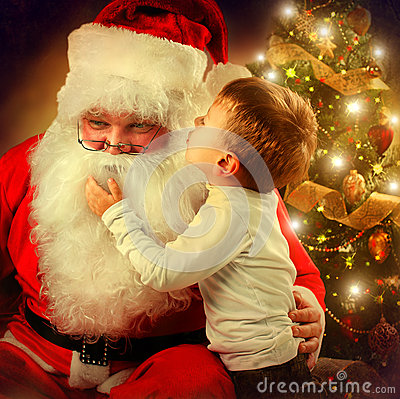 Free Santa Claus And Little Boy Royalty Free Stock Images - 34940679
