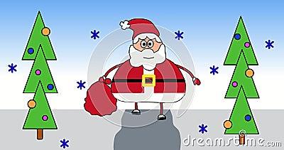 Santa Claus animacji wideo 4k weso?ych ?wi?t szcz??liwego nowego roku, Wita? ?mieszn? ruch kresk?wk? ilustracji