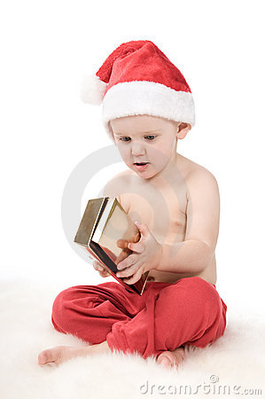 Santa claus baby in studio in christmas time