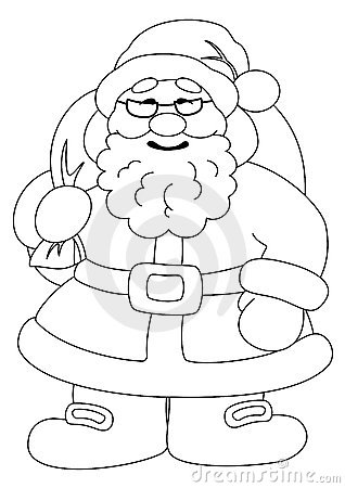 Santa Claus with bag of gifts, contours