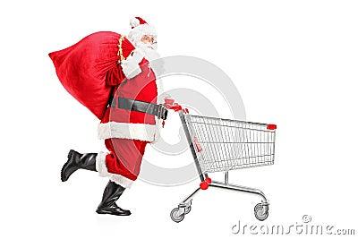 Santa Claus with a bag pushing a shopping cart