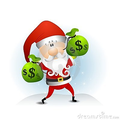 Santa Claus Bags of Money