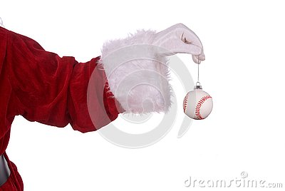 Santa Claus with baseball ornament
