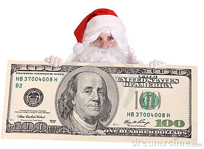 Santa Claus with big  dollar banknote.