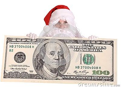 Santa Claus with big  dollar banknote.