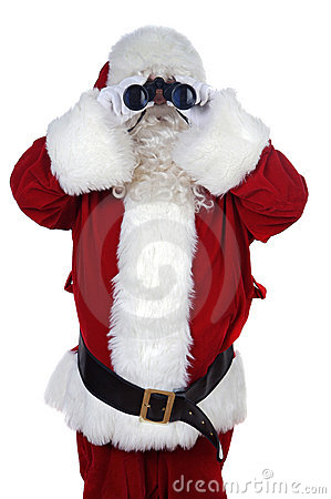 Santa Claus with binoculars