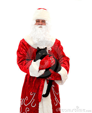 Santa Claus and the black cat