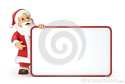Santa claus with a blank billboard