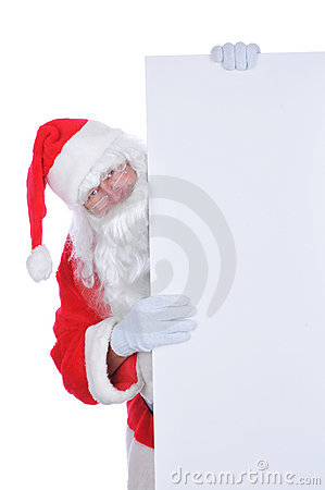 Santa Claus with a Blank Sign