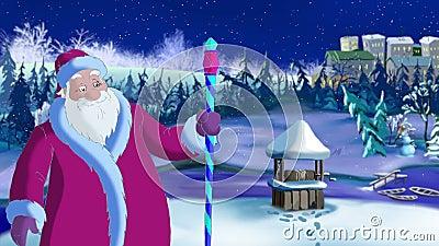 Santa Claus Blowing Cold Wind vector illustratie