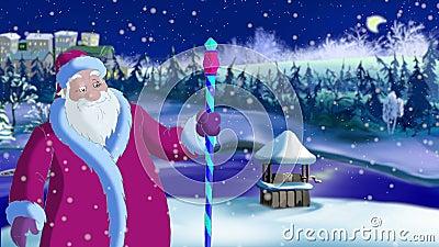 Santa Claus Blowing Snow vector illustratie