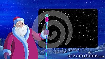 Santa Claus Blowing Wind met Alpha Channel Frame vector illustratie