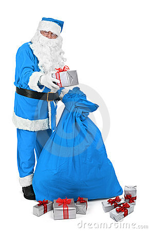 Santa claus in blue costume