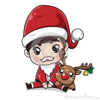 Santa Claus boy and little deer. Vector Illustration