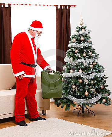 Santa Claus bringing gas as present