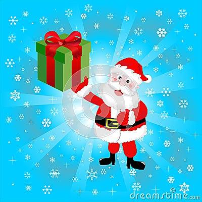 Santa Claus Brings Present
