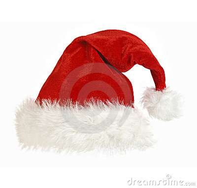 Santa claus cap on white
