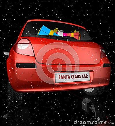 Santa Claus car in starry sky