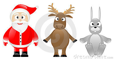 Santa Claus, caribou and rabbit