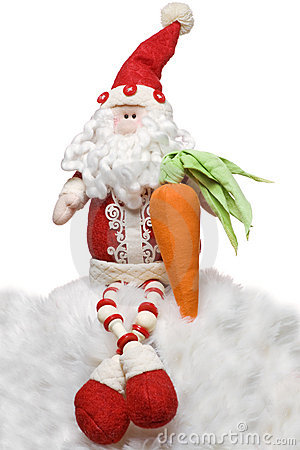 Santa Claus with a carrot for the rabbit