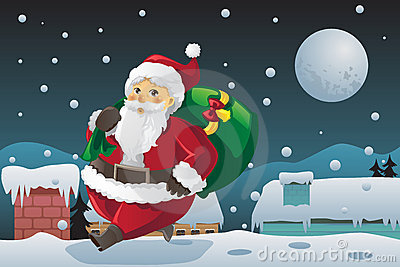 Santa Claus carrying Christmas presents