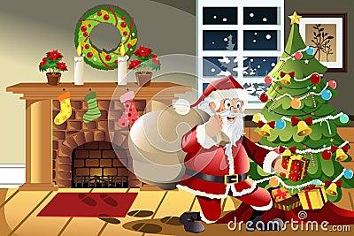 Santa Claus carrying Christmas presents