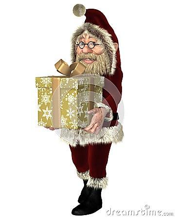Santa Claus Carrying ein Weihnachtsgeschenk