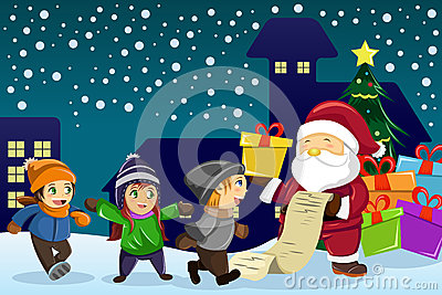 Santa Claus carrying present and holding a name list with kids a